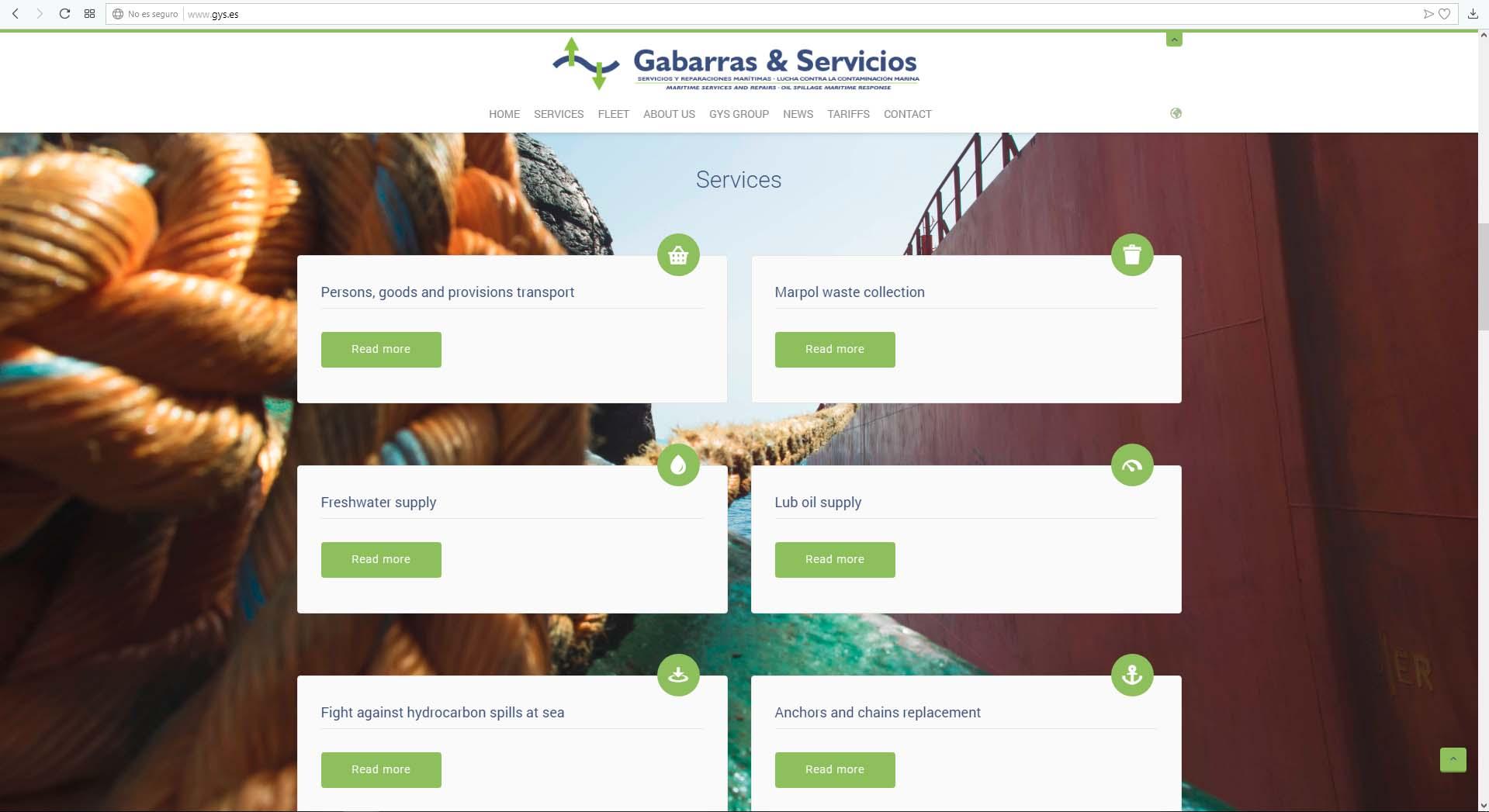 Página web Gabarras y Servicios
