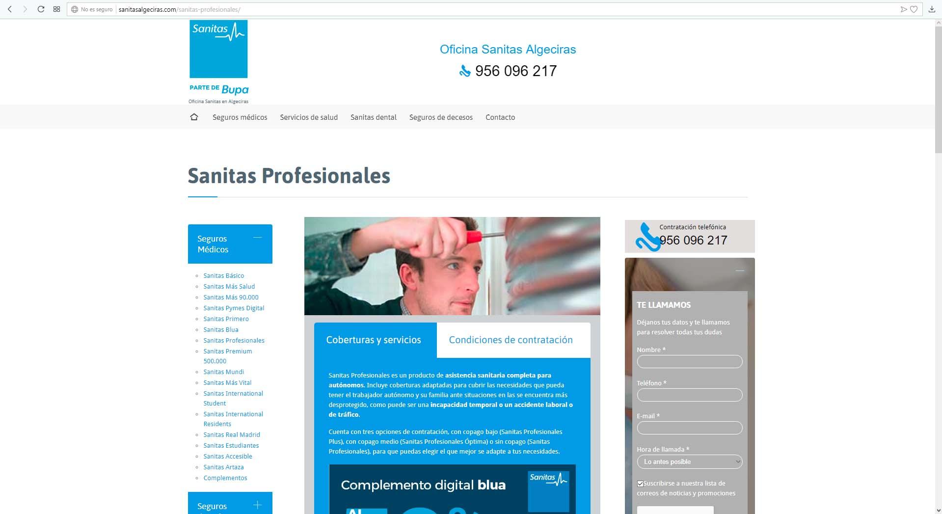 Web Sanitas Algeciras y Jerez