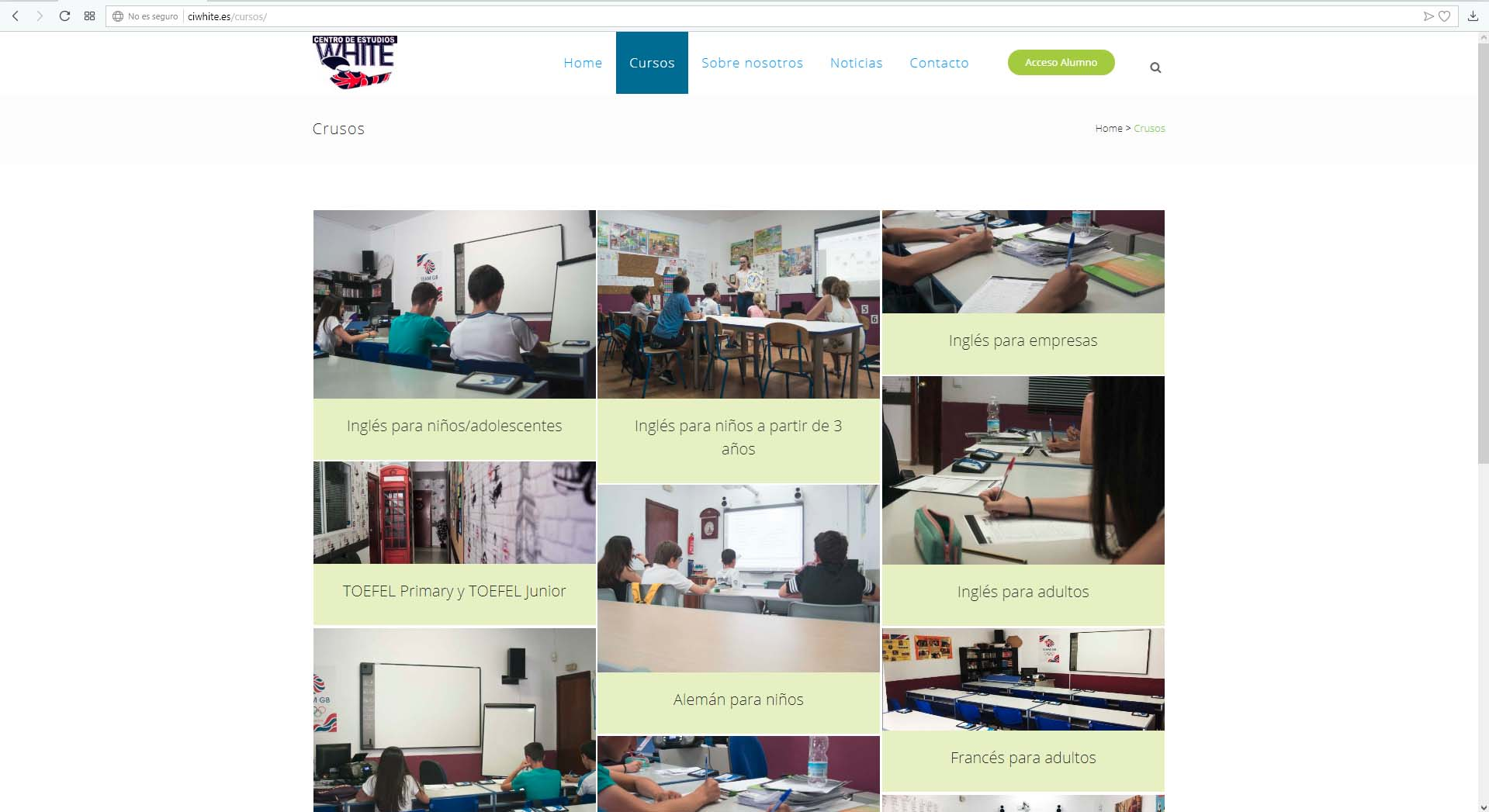 Página web Centro de Idiomas White